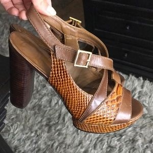 Tory Burch Deidre Brown Snakeskin Leather Heels